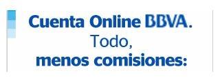 Cuenta Online y Blue de BBVA sin comisiones