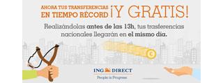 Transferencias express en el mismo día gratis con ING Direct